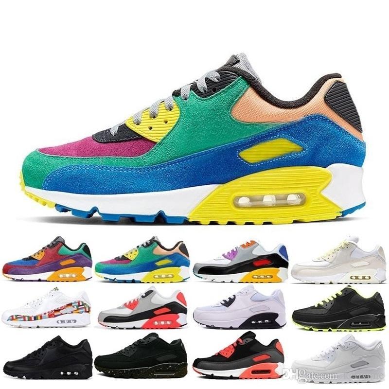 الجملة أزياء الرجال حذاء رياضة أحذية كلاسيك 90 للرجال والنساء أحذية رياضة الجري المدرب سادة 90 السطحية أحذية تنفس الرياضة