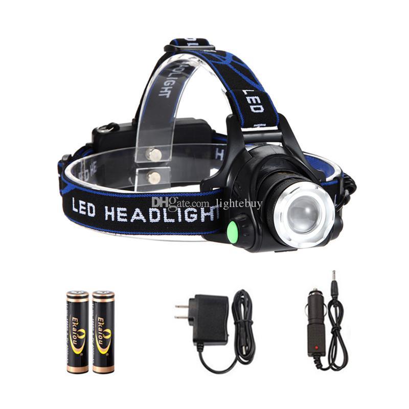 XML T6 LED Cabeza antorcha Camping Senderismo Cabeza ligero con batería cargador