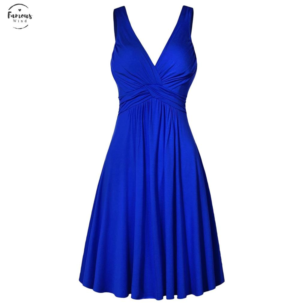 2020 New Summer Women Dress Formal Sexy Solid Plus Size V Neck Sling Pleated Slim Flare Party Sundress 9032125