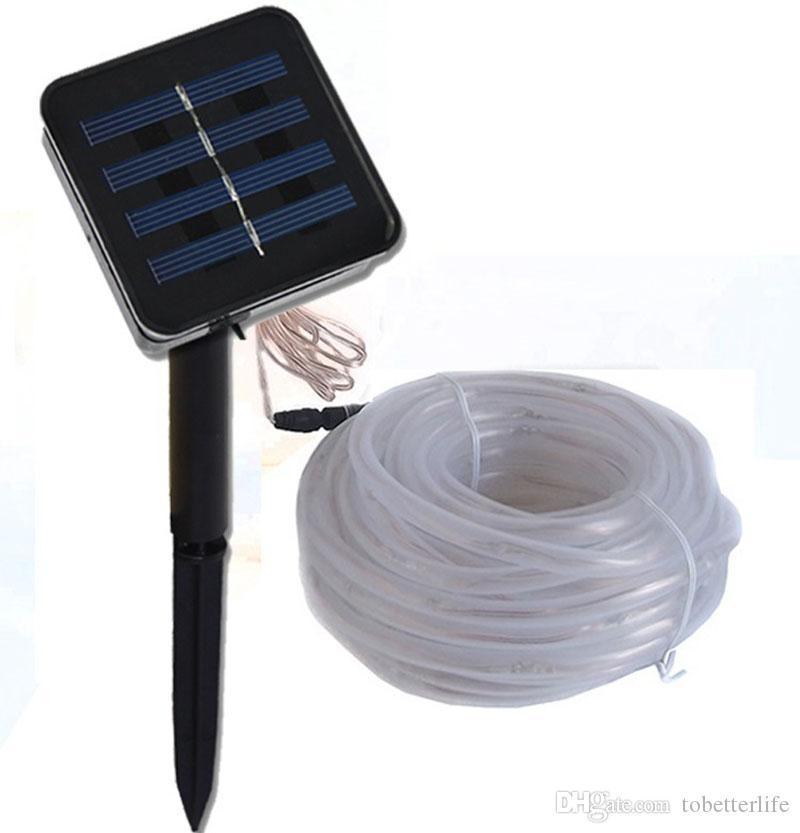 7M 12M 50 / 100LEDS الشمسية الصمام سلسلة أضواء الأضواء حبل في الهواء الطلق أنبوب الصمام سلسلة الطاقة الشمسية الجنية أضواء 2 أوضاع 8 أوضاع