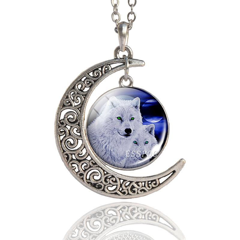Howling Wolf Art Photo Glass Cabochon Pendant Necklace Crescent Moon Pendant Wolf Jewelry Men Women Long Chain Necklace