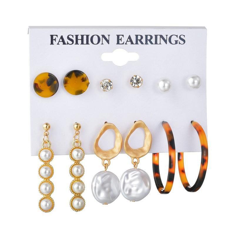 New Bohemian Pearl Long Dangle Earring Sets Vintage Gold CZ Zircon Crystal Acrylic Stud Earrings For Women 6 Pairs/set