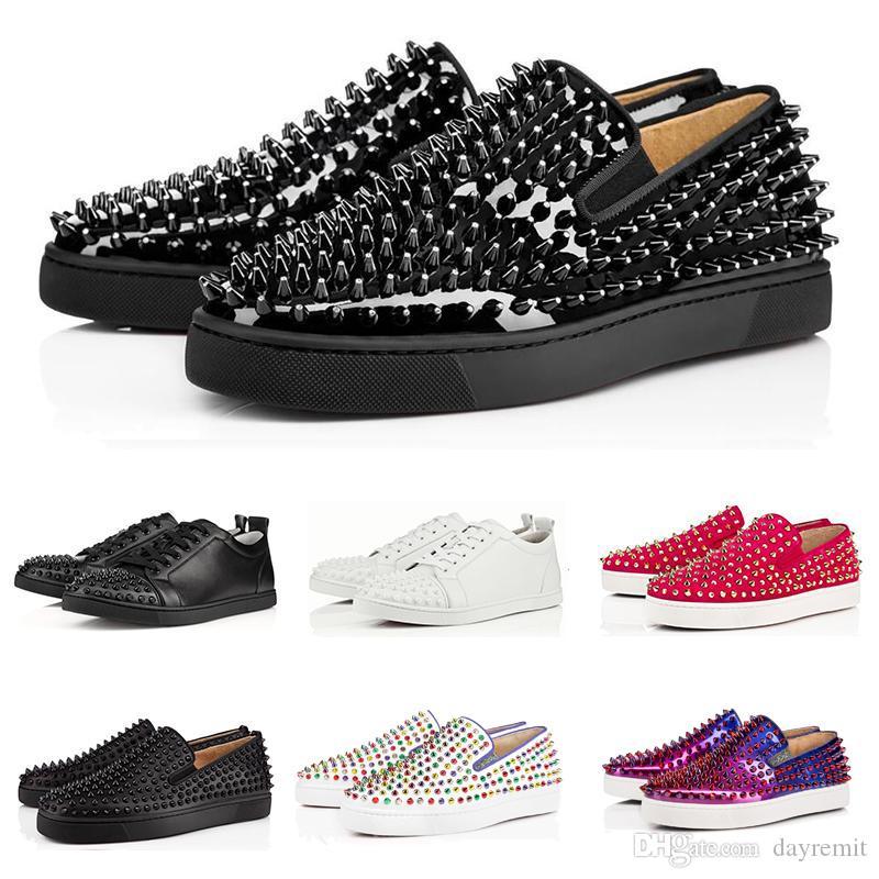 2019 neue Bottoms Studded Spikes Flats Schuhe Niet Designer Mode Luxus rot für Männer Frauen schwarz weiß Glitter Party Lovers Casual Sneakers