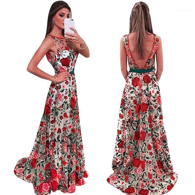 Neue Art und Weise beiläufige Partei-Kleid-Spitze aushöhlen Print Damen Kleid ärmellos Stickerei-Frauen-Abend-Kleid Luxusdamenmode