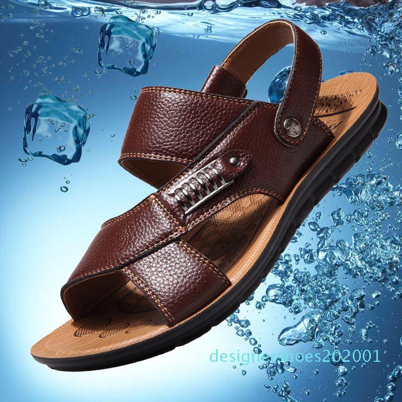 Été sandales hommes en cuir 2018 nouvelles sandales en cuir des hommes occasionnels chaussures antidérapantes respirant d01