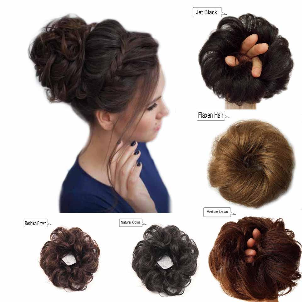 Bollos de cabello humano Extensiones de cabello con moño desordenado Piezas de cabello onduladas y rizadas para mujeres Niños Chupones de donas Updo