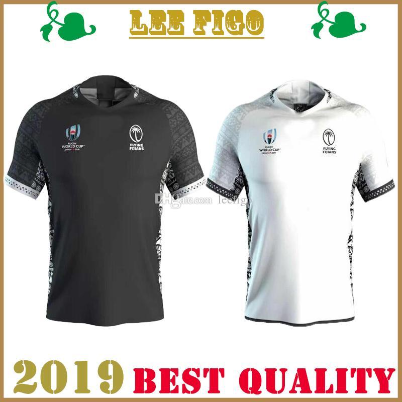 2019 copa del mundo Fiji local blanco visitante negro Rugby jersey 19-20 Fiji National Rugby local blanco visitante negro Jersey TAMAÑO: s-3xl