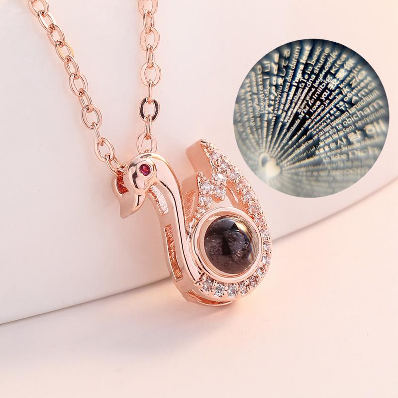 Colliers Pendentif Cristal Femmes Zircone Colliers Goutte En Pierre Pendentifs Colliers Cygne Blancs Classiques
