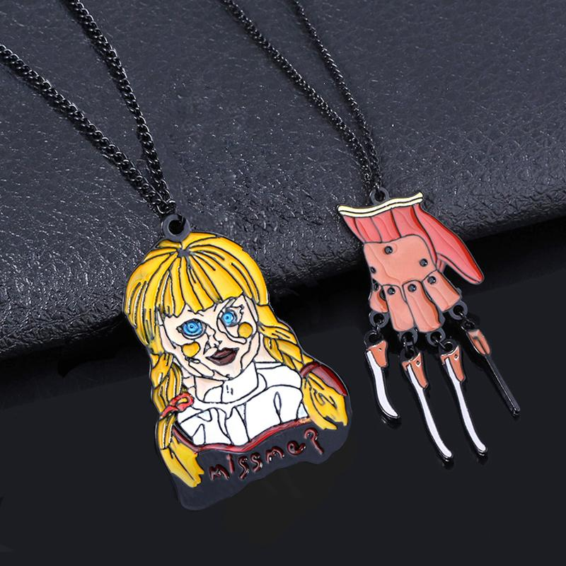 Horror Stephen King's It Joker Pennywise Necklaces Chucky Face Black Friday the 13 Annabelle Ghost Doll Choker Women Jewelry