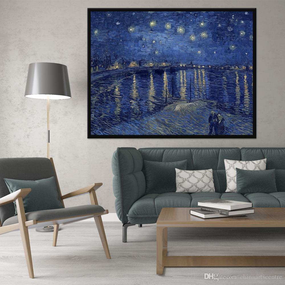 Famous Starry Night By Van Gogh High Quality Reproduction Handpainted Impressionist Art Oil Painting On Canvas Wall Art Home Decor l37