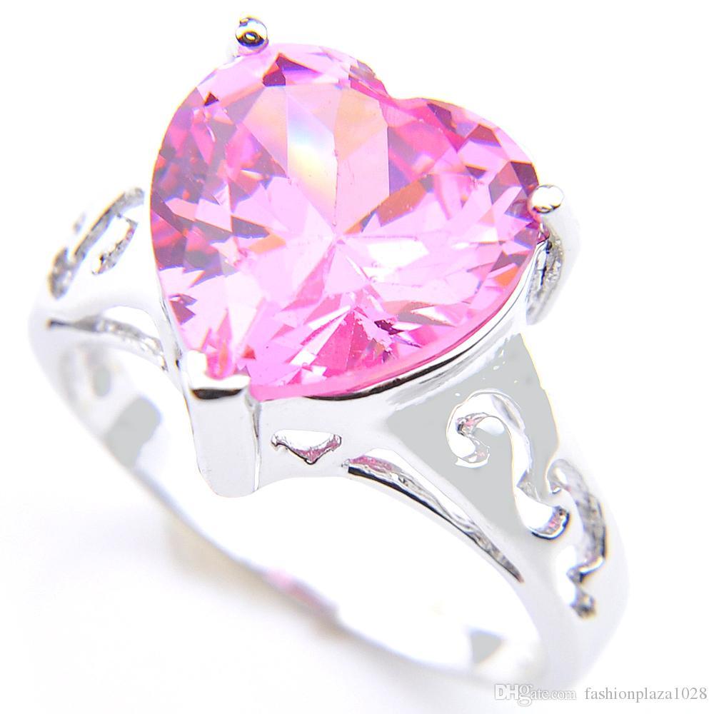 5 sztuk partii moda urok pierścionek miłość serca różowy kunzite klejnoty 925 sterling posrebrzane dziewczyny pierścionki biżuteria