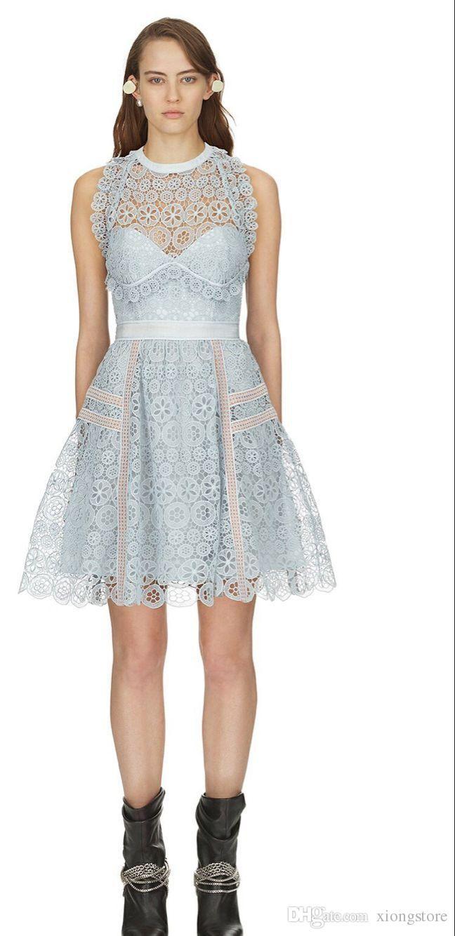 2019 2019 Blue Sexy Halter Backless Dress New Summer Self Portrait Women See Through Sleeveless Tank Crochet Hollow Out Lace Short Dress From