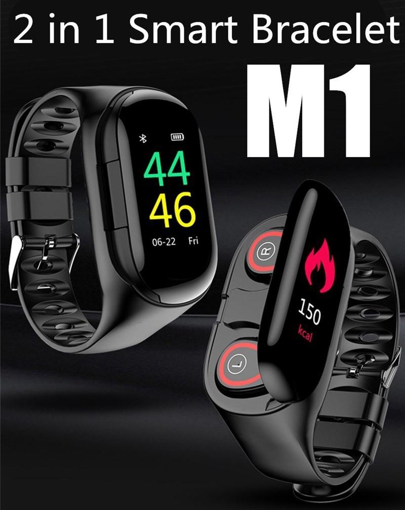 M1 TWS 5.0 سماعات بلوتوث IP67 مراقب الذكية سوار الرجال ووتش معدل ضربات القلب الذكية الاسورة مع سماعة الرأس اللاسلكية للألعاب الرياضية