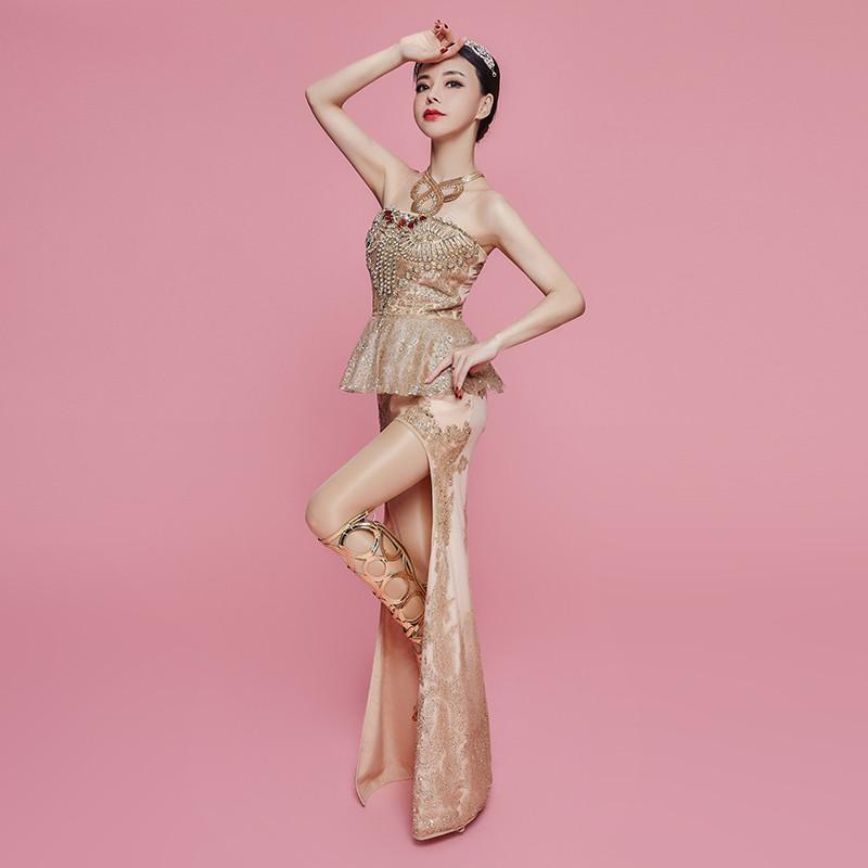 Z36 ouro lantejoulas mulheres vestidos longos saia sereia sexy feminino bodysuit cantor outfit stage veste trajes de dança de salão trajes bar ds