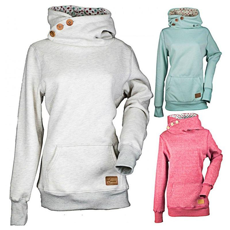 Ropa de la manga de la moda sudaderas con capucha suéter con solo pecho de 3 colores Larga Sudaderas primavera para las mujeres señoras de 21cf E1