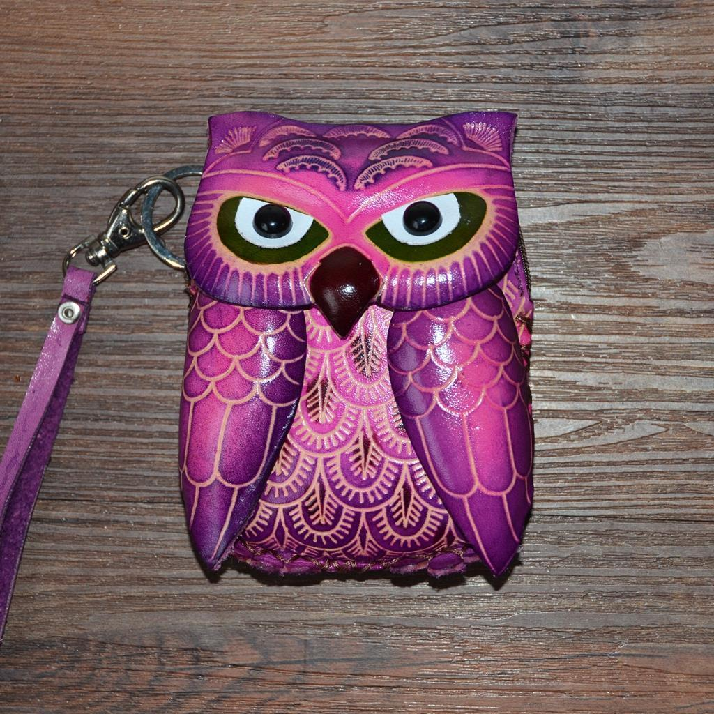 2019 New Arrival Hot Sale Animal Prints Zipper Lady Female Handmade Leather Package Mini Coin Purse Of Zero Wallet The Owl Bags