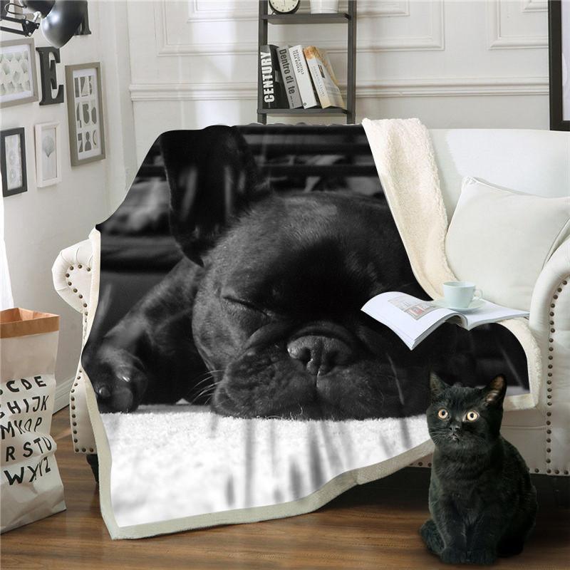 Cobertor Cão Mantas Para Sofá Decorativa Lance Cobertor De Lã Deken Frazadas De Cama De Invierno Mantas Transporte da gota