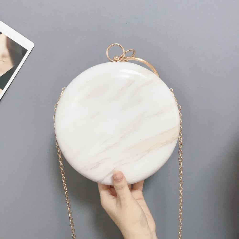 Meloke 2019 femmes chaudes main simple, concepteur de sac de soirée ronde sac à main en cuir PU Embrayages femme chaîne Sacs à bandoulière M1141 V191114