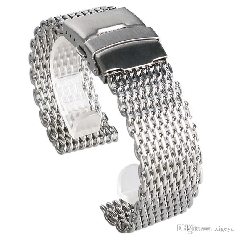 High Quality 18mm 20mm 22mm 24mm Stainless Steel Watch Band Silver Fashion Style Watch Strap for Women Men Replacement Watchband