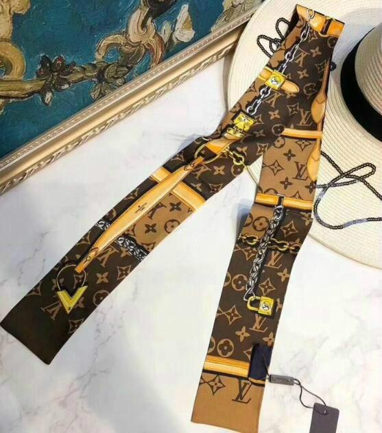 2020 designer silk scarf women's fashion tie bag handle ribbon printed scarf fashionable men's and women's hair band wrist ba