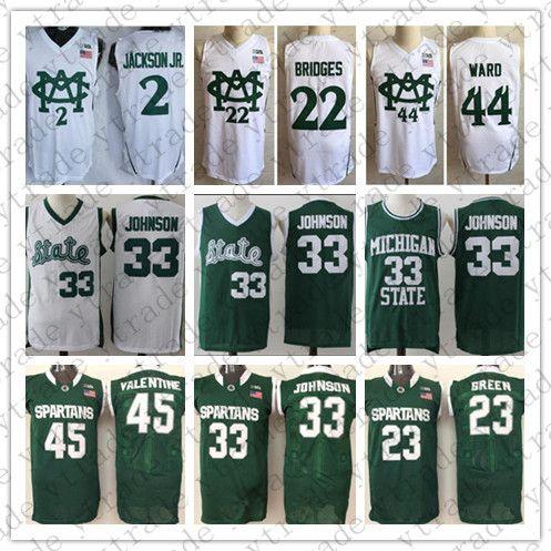 NCAA Michigan State Spartans College #33 Magic Johnson 45 Valentine 23 Green 2 Jackson Jr. 22 Miles Bridges 44 Nick Ward Basketball Jerseys