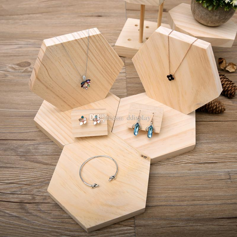 [DDisplay]Creative Hexagon Pendant Jewelry Display Tray Solid Wood Personalized Necklace Display Holder Pine Wooden Bracelet Display Stand