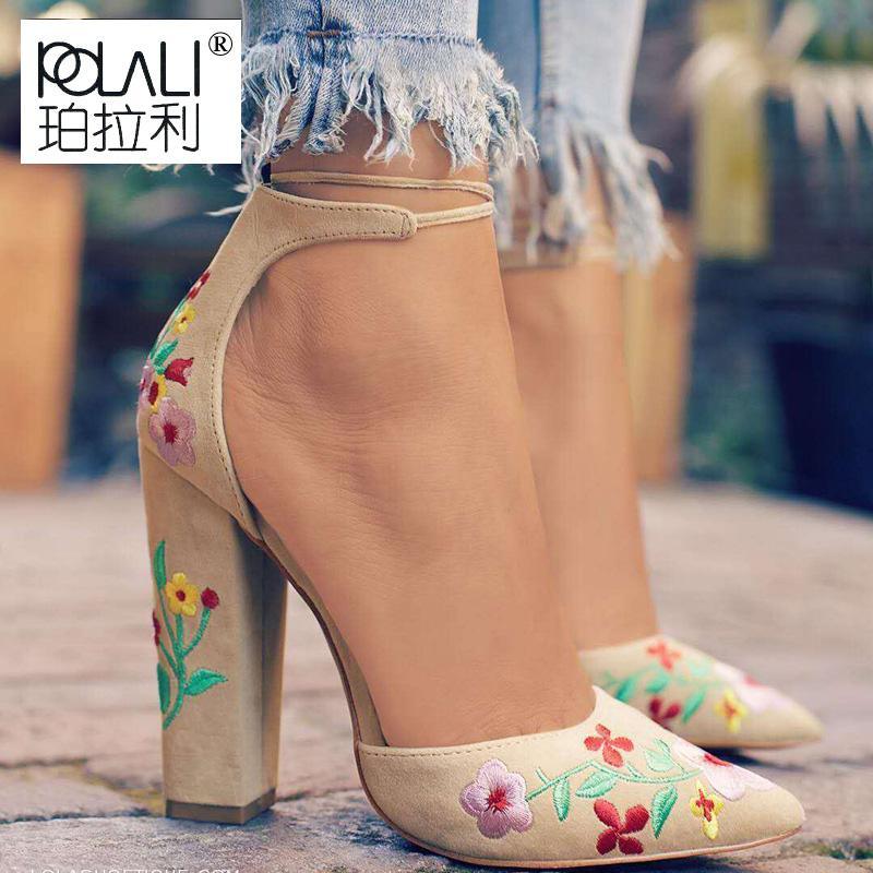 Broderie Fleur Femmes Chaussures Talons Femmes Plateforme talon carré bout pointu pompes chaussures habillées Sexy Party mujer plus la taille 43
