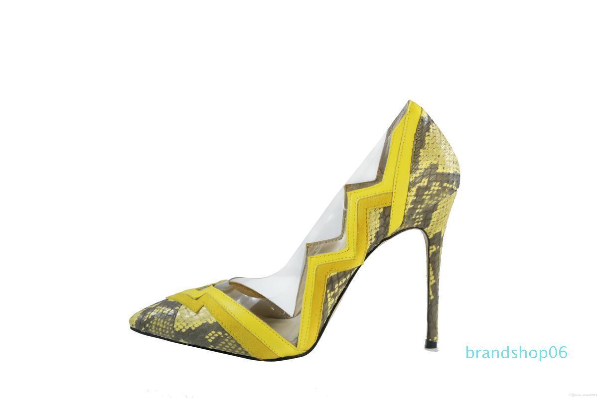 Charm2019 Robe jaune Chaussures mince Talons Slip On Mariage Soirée Pompes Hot Spring Decent