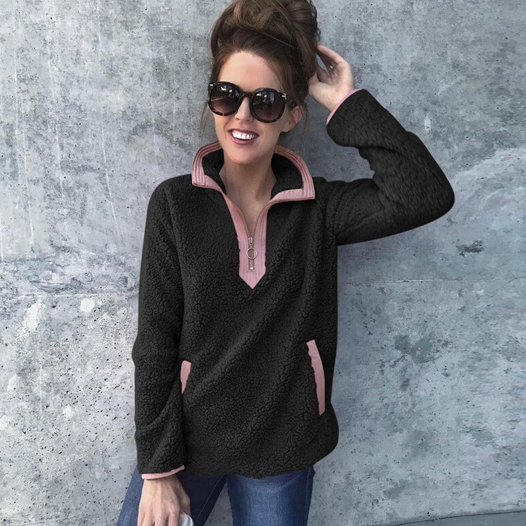 Las mujeres felpa del invierno de la cremallera del remiendo de cuello alto con capucha Tops ocasional de la camisa de manga larga suéter mullido