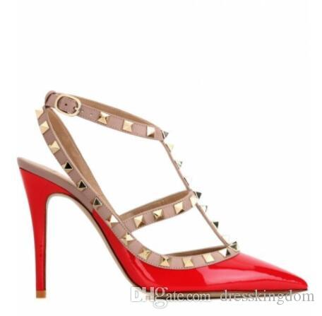 женщины 2019 высокие каблуки сандалии свадебные туфли лакированная кожа заклепки сандалии женщины шипованные ремешками платье обувь v туфли на высоком каблуке + логотип + коробка