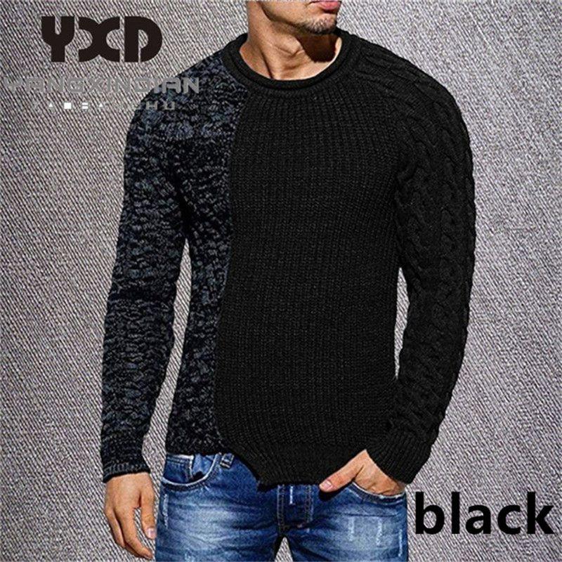 3XL Herbst Man Pullover 2020 beiläufige Patchwork O-Ansatz Pullover Fashion Warm Männer Pullover Neue Große Strick Unregelmäßige Male Knitwear