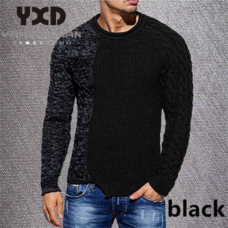 3XL Autumn Sweater Man 2020 Casual Patchwork O pescoço capuz Moda Quente Homens Jumper New Grande Malha Irregular Masculino Knitwear