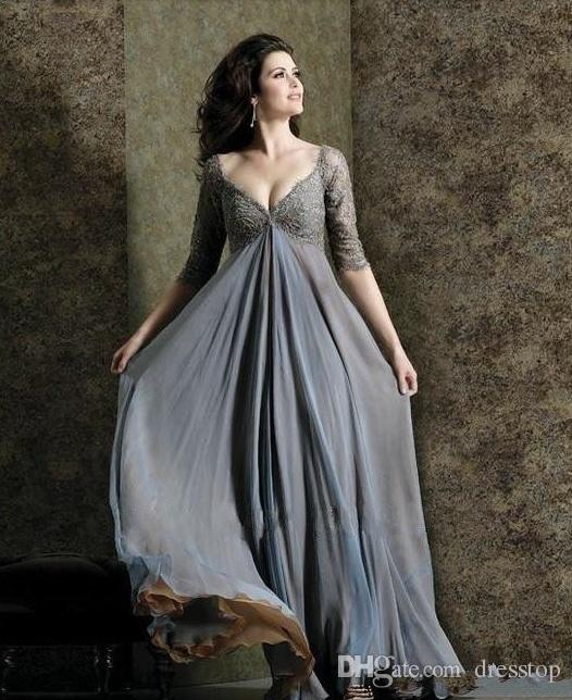 Madre del cordón elegante más el tamaño de los vestidos de novia mangas una línea V-cuello imperio cintura Madre de novio vestido palabra de longitud gasa vestidos de noche