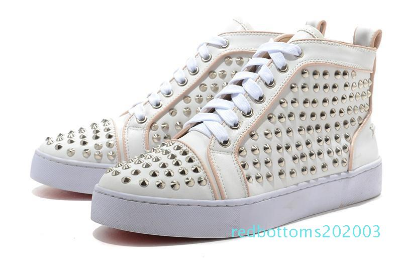 2018 New Mens andDesigner Famous Red Bottom designer S Leather White Spiked Toe Flats r03