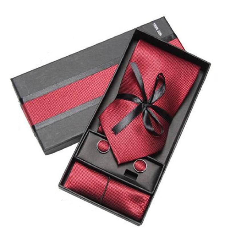 gift set necktie cufflink handkerchief for men tie neckwear neck tie set neckties cuff link boxed gift fashion accessory 2 sets/lot