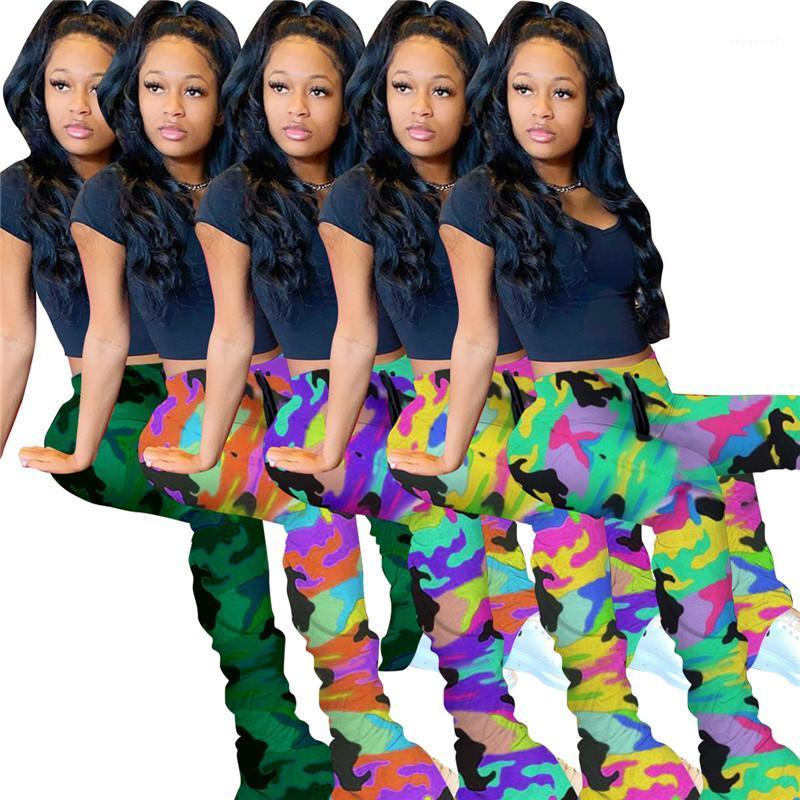 Flare Брюки Женщины Drawstring высокой талией Брюки Streetwear Женщины Камуфляж штабелях Sweatpants Мода тонкий Эластичный Micro