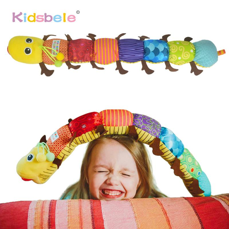 Baby Soft Toys Musical Caterpillar Plush Newborn Educational Toys Rattles Kids Baby Bell Toys Toddler Infant Crib Stroller Toy Y200111