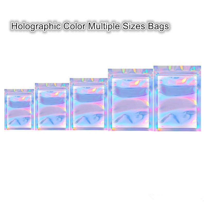 Новые прибытия Голографическая Цвет Несколько Размеры Resealable пахнут Proof Сумки Фольга сумка Flat сумка для благосклонности партии хранения пищевых продуктов