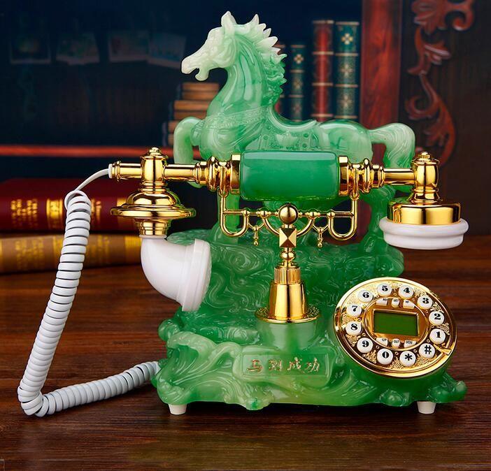 Authentique téléphone antique, téléphone européen, carte plug-in sans fil, appareil ménager, mode jade, téléphone rétro
