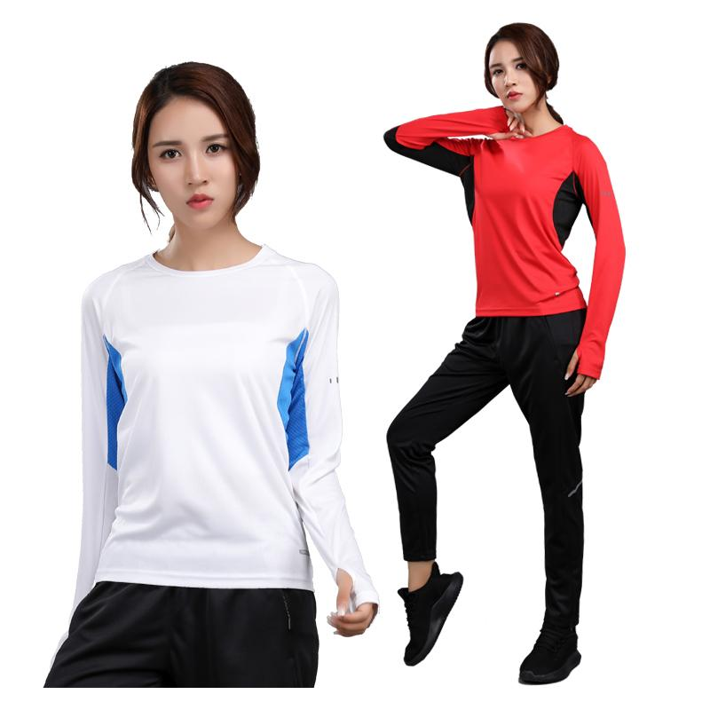 Langarm-Frau-Sport-Hemd Dry Fit Trainings Bluse Sport Anzug Laufsport Langarm Gym Yoga Compression Shirts T200605