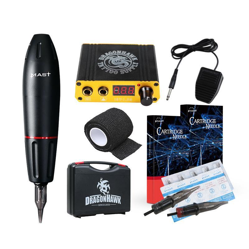 Professional Tattoo Rotary Pen Machine Kit Box Cartridge Needles Tips Tattoo Artist Kits Body Arts Supplies permanent make up T200609