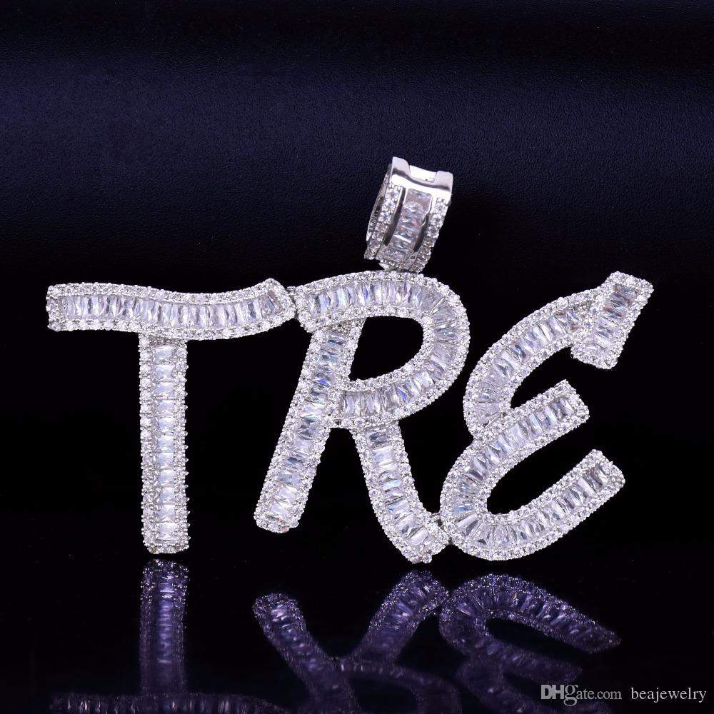 Hip Hop nombre personalizado Baguette letras colgante collar con cadena de cuerda libre oro plata Bling Zirconia hombres colgante joyería