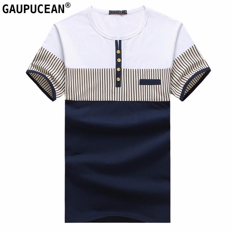 95% Baumwolle 5% Spandex-Mann-T-Shirt Streifen mit kurzen Ärmeln Patchwork Blau Weiß Qualität Rundhalsausschnitt-Mann Art und Weise O-Ansatz Männer-T-Shirt