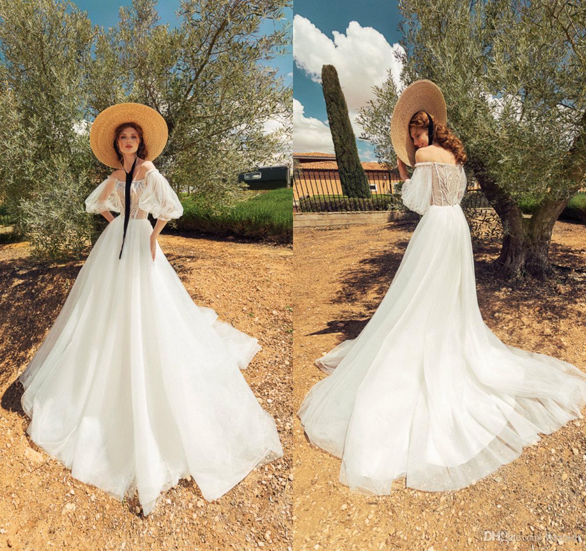 Boho una línea vestidos de encaje de la boda Apliques Bateau 3/4 de la boda larga de la manga del vestido de tul Beach por encargo del barrido Venta tren Vestidos de boda calientes