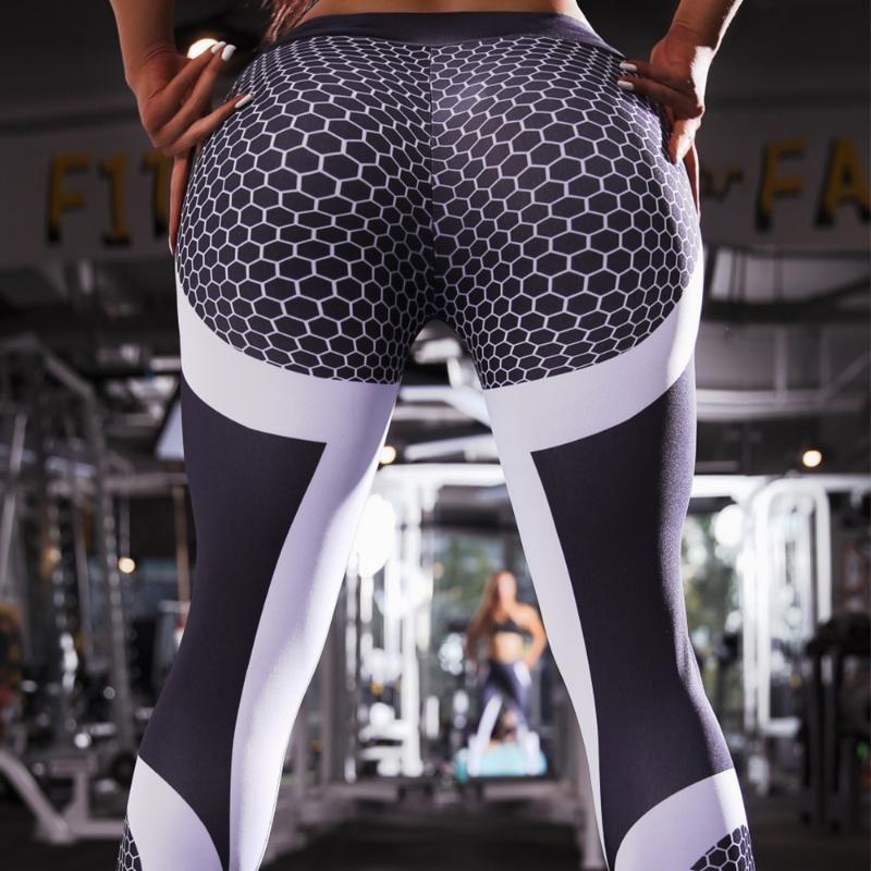 Impreso aptitud del deporte del entrenamiento polainas de compresión de nido de abeja Mujeres de la gimnasia yoga pantalones empuja hacia arriba atractivo Ejecución de señoras de la alta cintura Medias
