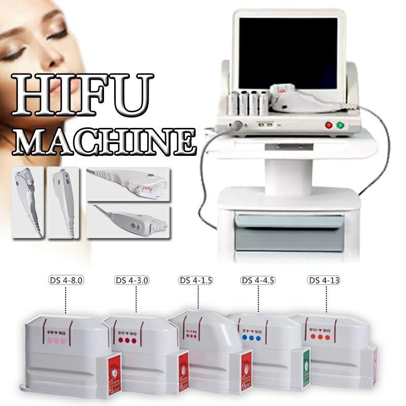 Grado médico de alta intensidad HIFU Ascensor Ultrasound HIFU cara máquina de eliminación de arrugas Con 5 cabezas para cara y cuerpo