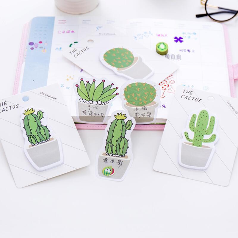 Carino Cactus Memo Pad Memo Sticky Note Sticker taccuino di carta N Adesivi Stationery Office Accessori Scuola Forniture LX8990