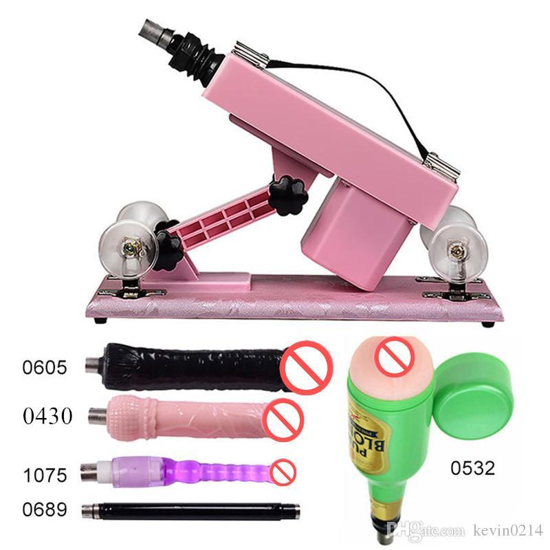 5in1 Automatic Retractable Sex Machine with 5 Accessories Thrusting Massager Silicone Anal Plug Love Guns Female Masturbator Dildo E5-1-85