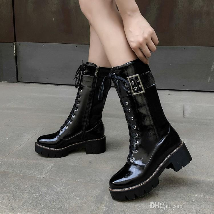 2020 Winter New Military Biker Combat Tactical Boots Women Buckle Chunky Heel Lace Up Mid Calf Martin Knight Boots Shoes