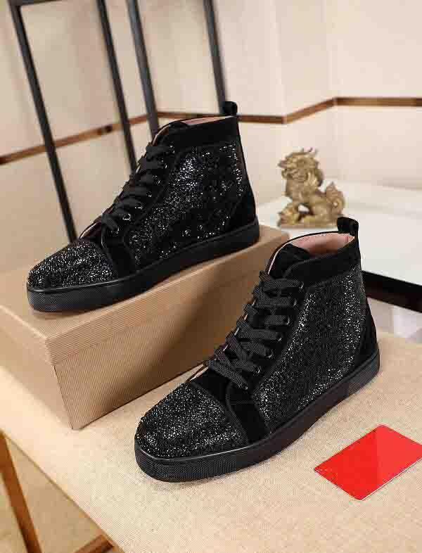(With Box, Toz Torbası) Üst Kalite Kırmızı Alt Bez Ayakkabı Rhinestone Strass Ayakkabı High Sneakers Kırmızı Sole Kadın Erkek Flats Moda Casual Ayakkabı Disk